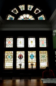 stained-glass window in the reading room at the Albright Memorial Library in Scranton