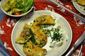 koldunai, chives and sour cream