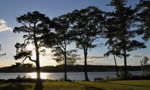 blue skies and setting sun in Damariscotta, Maine
