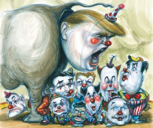 Matt Taibbi hit the road with the Republican Party circus; Illustration by Victor Juhasz