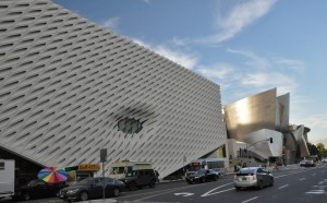 The Broad and behind it the Walt Disney Concert Hall