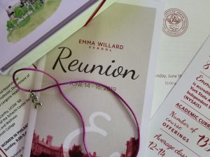 Reunion material, Emma Willard, June 13-16, 2019, and Jester charm
